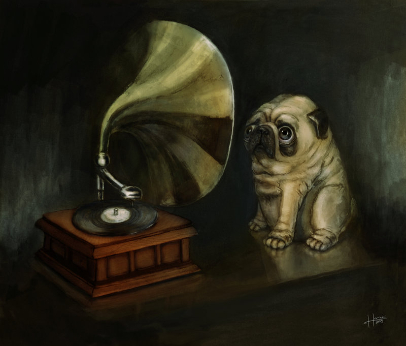 pug_and_his_master_s_voice_by_hankai-d66wz2o